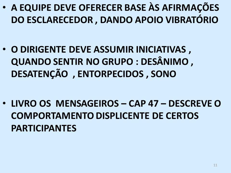 A EQUIPE DEVE OFERECER BASE ÀS AFIRMAÇÕES DO ESCLARECEDOR , DANDO APOIO VIBRATÓRIO