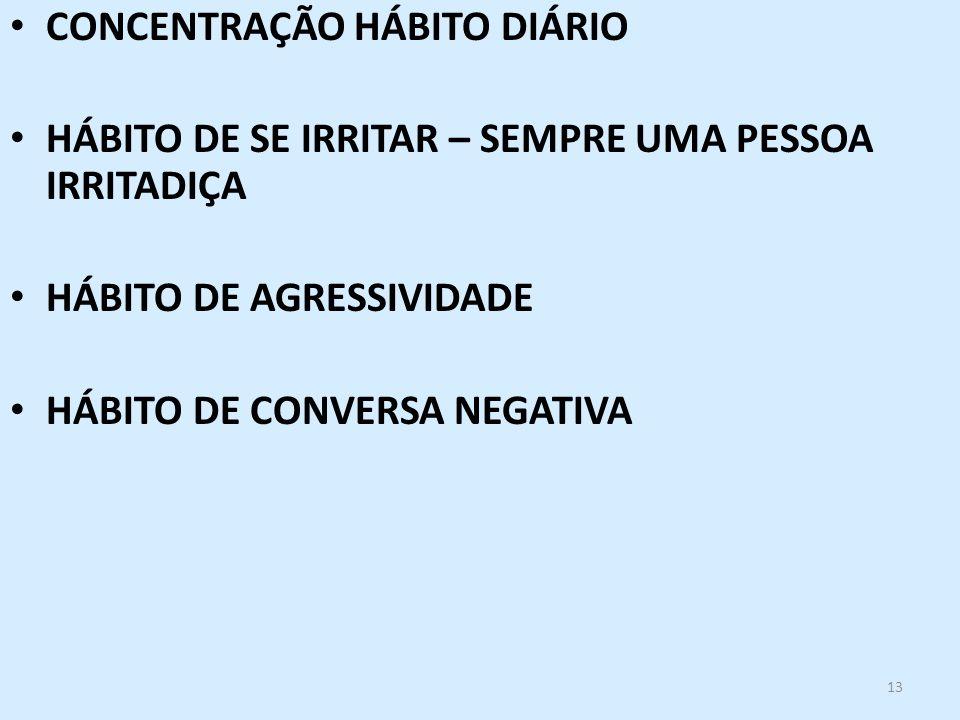 CONCENTRAÇÃO HÁBITO DIÁRIO