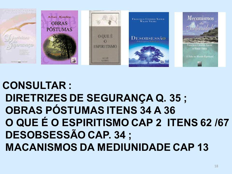 CONSULTAR : DIRETRIZES DE SEGURANÇA Q. 35 ; OBRAS PÓSTUMAS ITENS 34 A 36. O QUE É O ESPIRITISMO CAP 2 ITENS 62 /67.