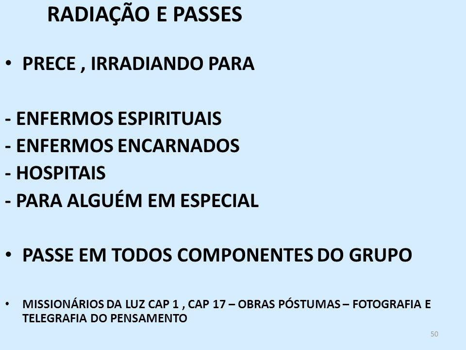RADIAÇÃO E PASSES PRECE , IRRADIANDO PARA - ENFERMOS ESPIRITUAIS