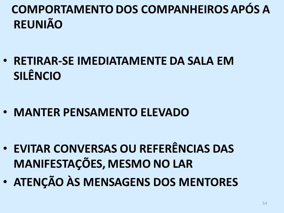 COMPORTAMENTO DOS COMPANHEIROS APÓS A REUNIÃO