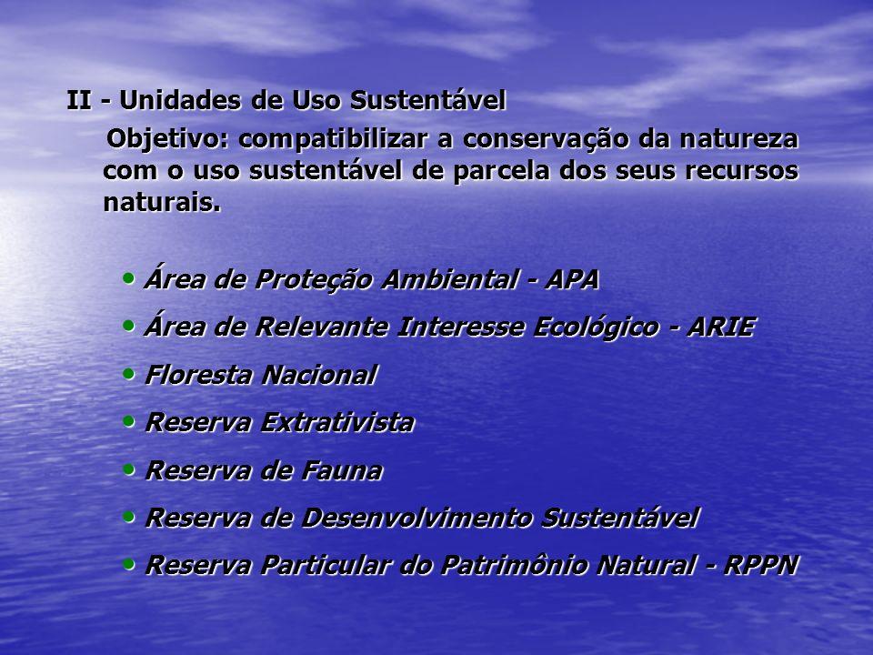 II - Unidades de Uso Sustentável