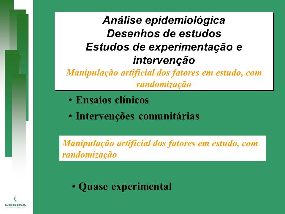 Análise epidemiológica Desenhos de estudos