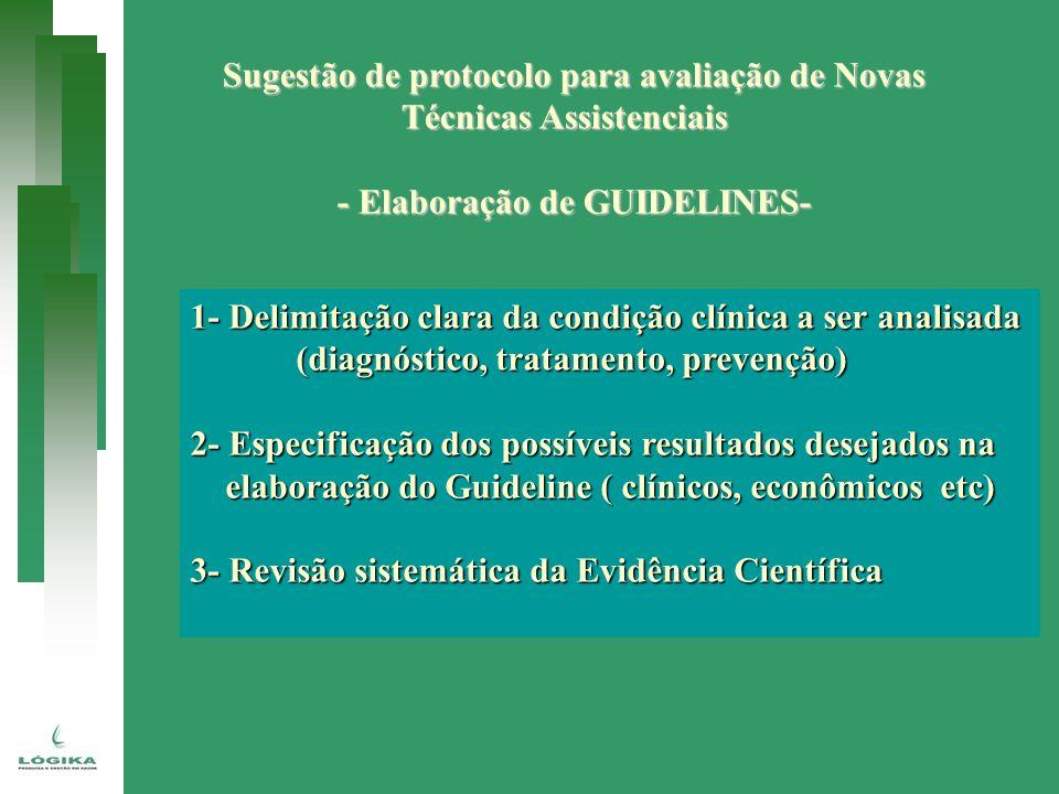 Sugestão de protocolo para avaliação de Novas Técnicas Assistenciais