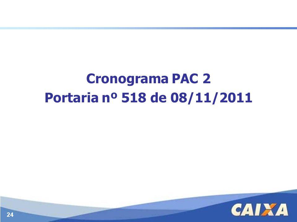 Cronograma PAC 2 Portaria nº 518 de 08/11/2011