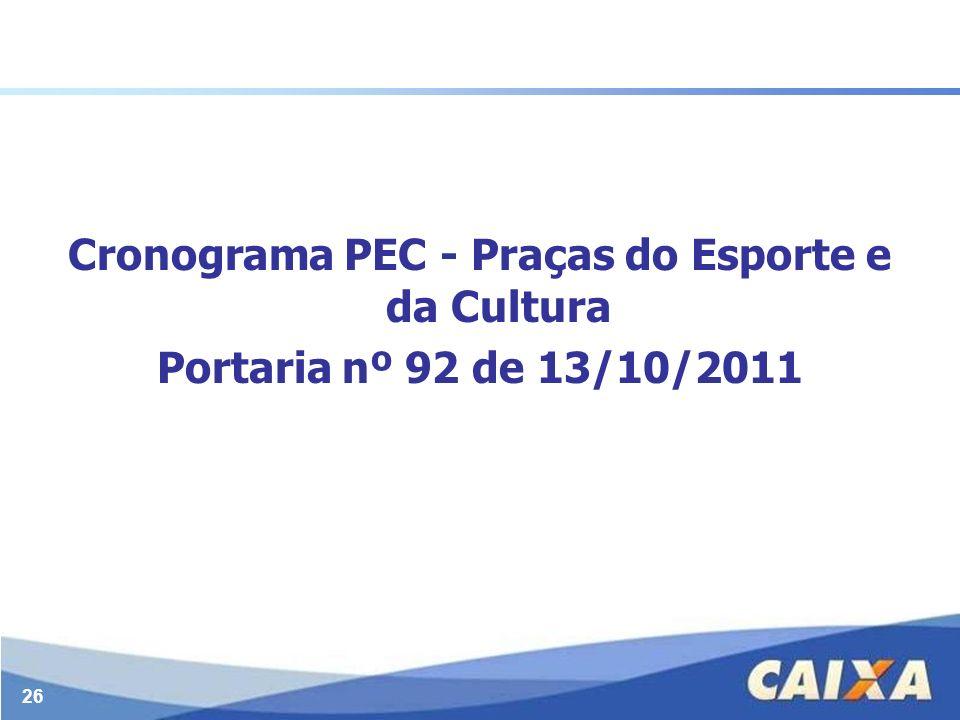 Cronograma PEC - Praças do Esporte e da Cultura