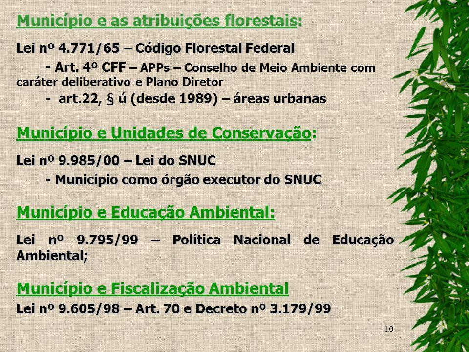 Município e as atribuições florestais: