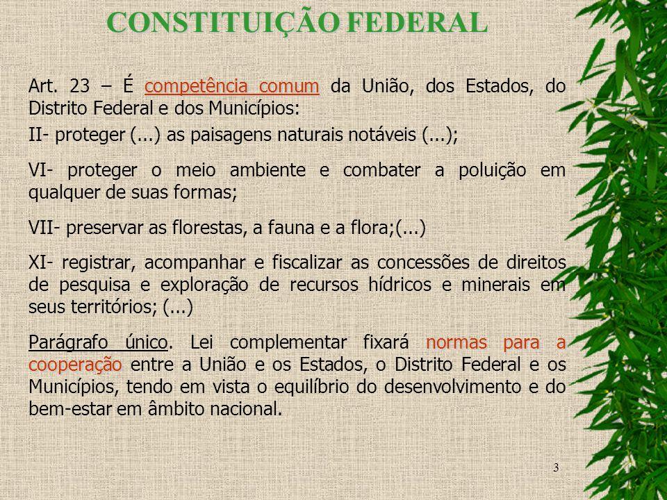 CONSTITUIÇÃO FEDERAL Art. 23 – É competência comum da União, dos Estados, do Distrito Federal e dos Municípios: