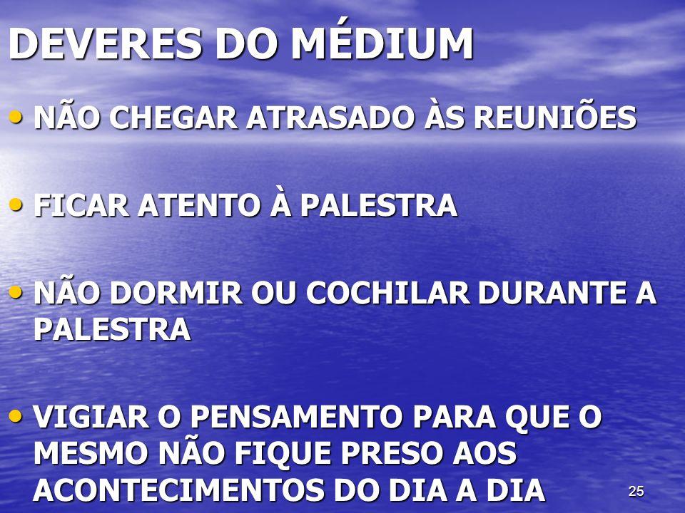 DEVERES DO MÉDIUM NÃO CHEGAR ATRASADO ÀS REUNIÕES