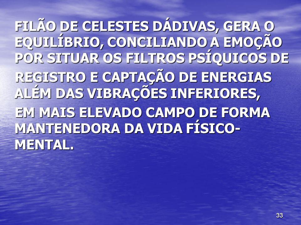 FILÃO DE CELESTES DÁDIVAS, GERA O EQUILÍBRIO, CONCILIANDO A EMOÇÃO POR SITUAR OS FILTROS PSÍQUICOS DE