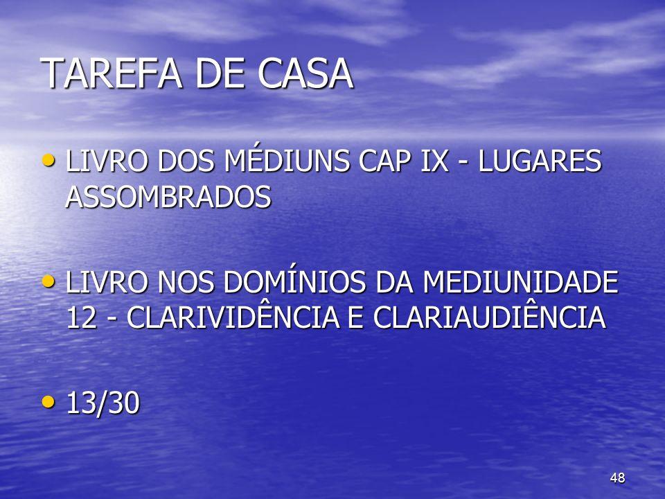TAREFA DE CASA LIVRO DOS MÉDIUNS CAP IX - LUGARES ASSOMBRADOS