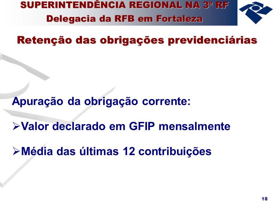 Apuração da obrigação corrente: Valor declarado em GFIP mensalmente