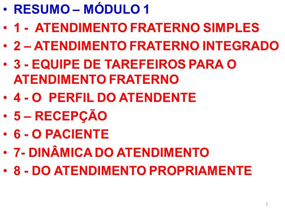 RESUMO – MÓDULO 1 1 - ATENDIMENTO FRATERNO SIMPLES. 2 – ATENDIMENTO FRATERNO INTEGRADO. 3 - EQUIPE DE TAREFEIROS PARA O ATENDIMENTO FRATERNO.