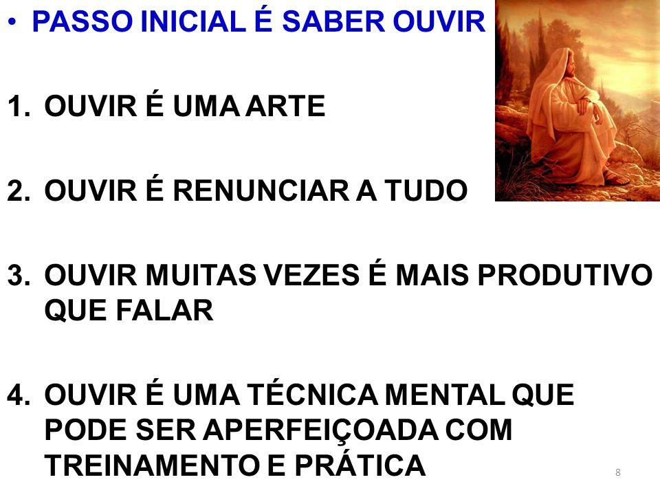PASSO INICIAL É SABER OUVIR