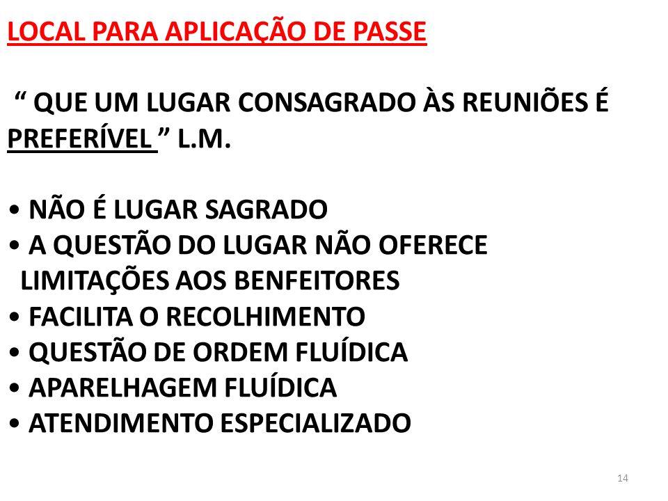 LOCAL PARA APLICAÇÃO DE PASSE