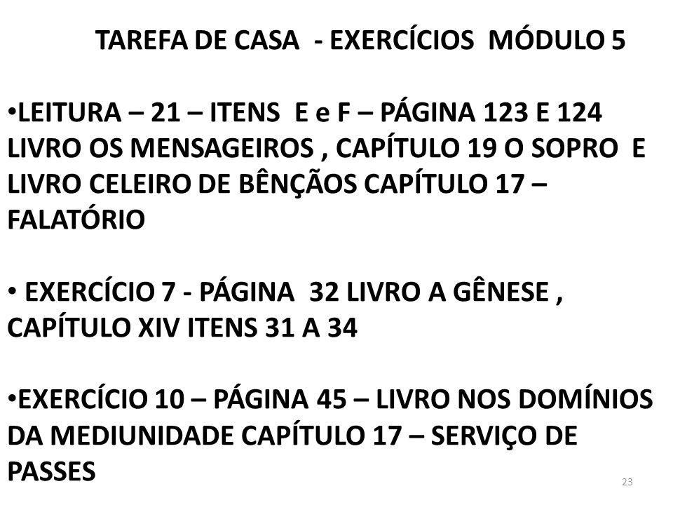 TAREFA DE CASA - EXERCÍCIOS MÓDULO 5