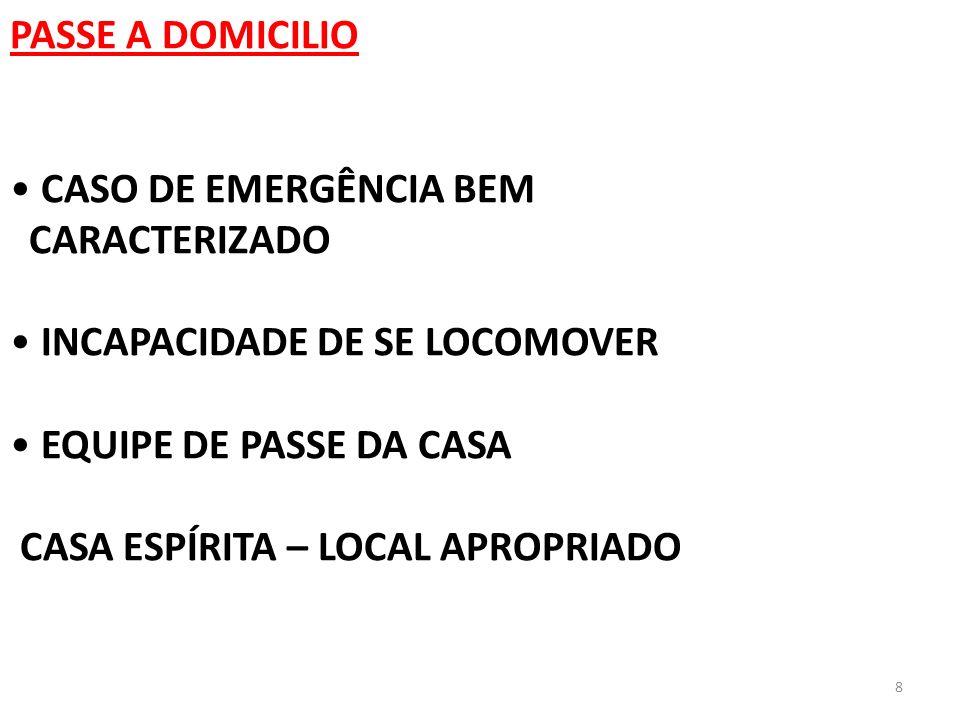 PASSE A DOMICILIOCASO DE EMERGÊNCIA BEM. CARACTERIZADO. INCAPACIDADE DE SE LOCOMOVER. EQUIPE DE PASSE DA CASA.