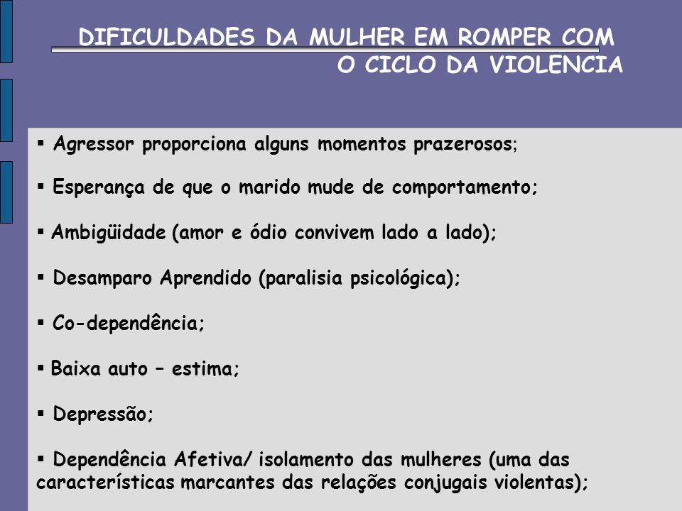 DIFICULDADES DA MULHER EM ROMPER COM O CICLO DA VIOLÊNCIA