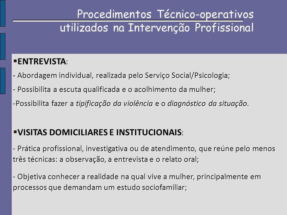 Procedimentos Técnico-operativos utilizados na Intervenção Profissional