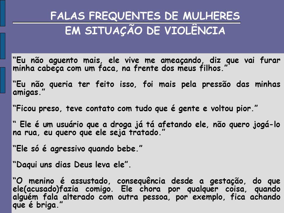 FALAS FREQUENTES DE MULHERES EM SITUAÇÃO DE VIOLÊNCIA