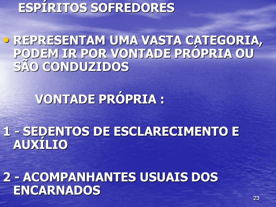 ESPÍRITOS SOFREDORES REPRESENTAM UMA VASTA CATEGORIA, PODEM IR POR VONTADE PRÓPRIA OU SÃO CONDUZIDOS.