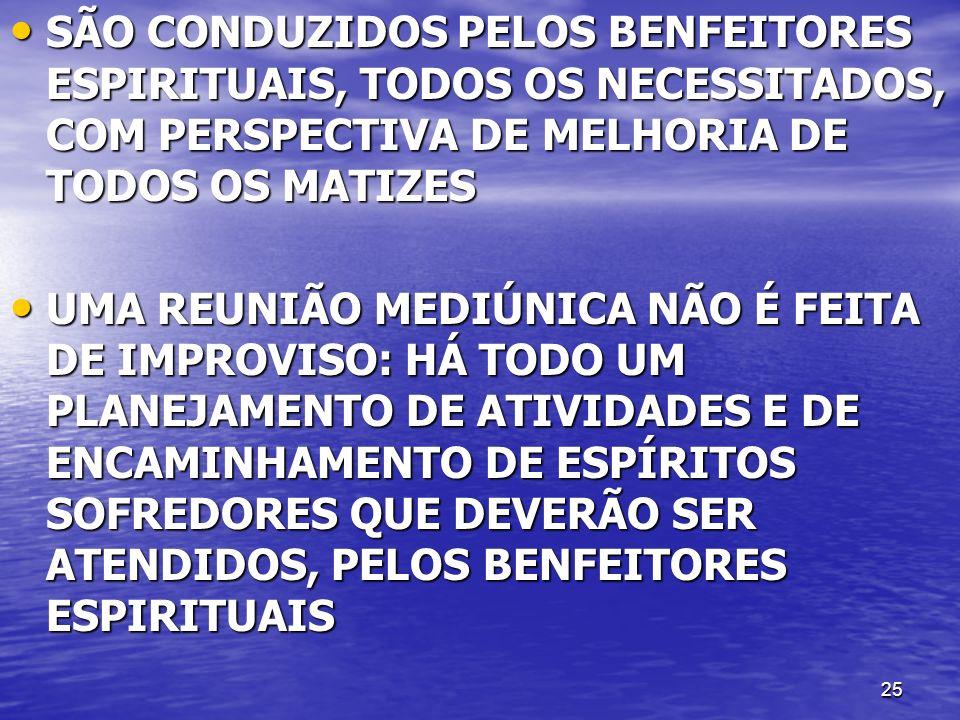 SÃO CONDUZIDOS PELOS BENFEITORES ESPIRITUAIS, TODOS OS NECESSITADOS, COM PERSPECTIVA DE MELHORIA DE TODOS OS MATIZES