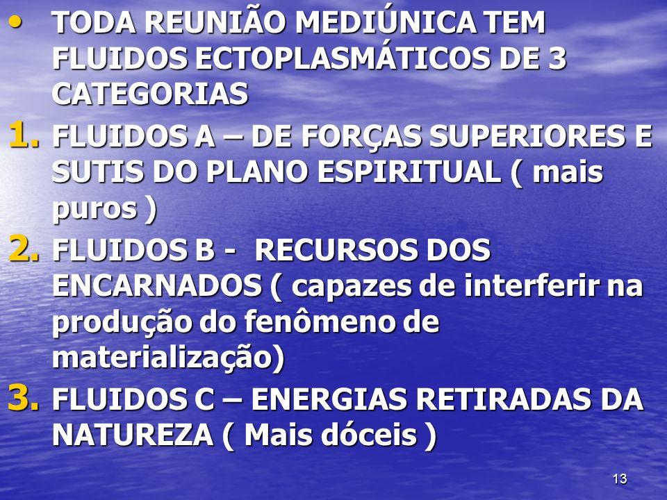 TODA REUNIÃO MEDIÚNICA TEM FLUIDOS ECTOPLASMÁTICOS DE 3 CATEGORIAS