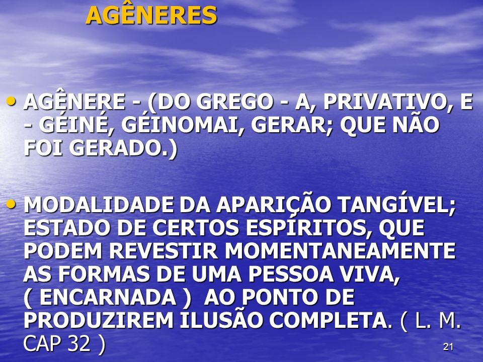 AGÊNERES AGÊNERE - (DO GREGO - A, PRIVATIVO, E - GÉINÉ, GÉINOMAI, GERAR; QUE NÃO FOI GERADO.)