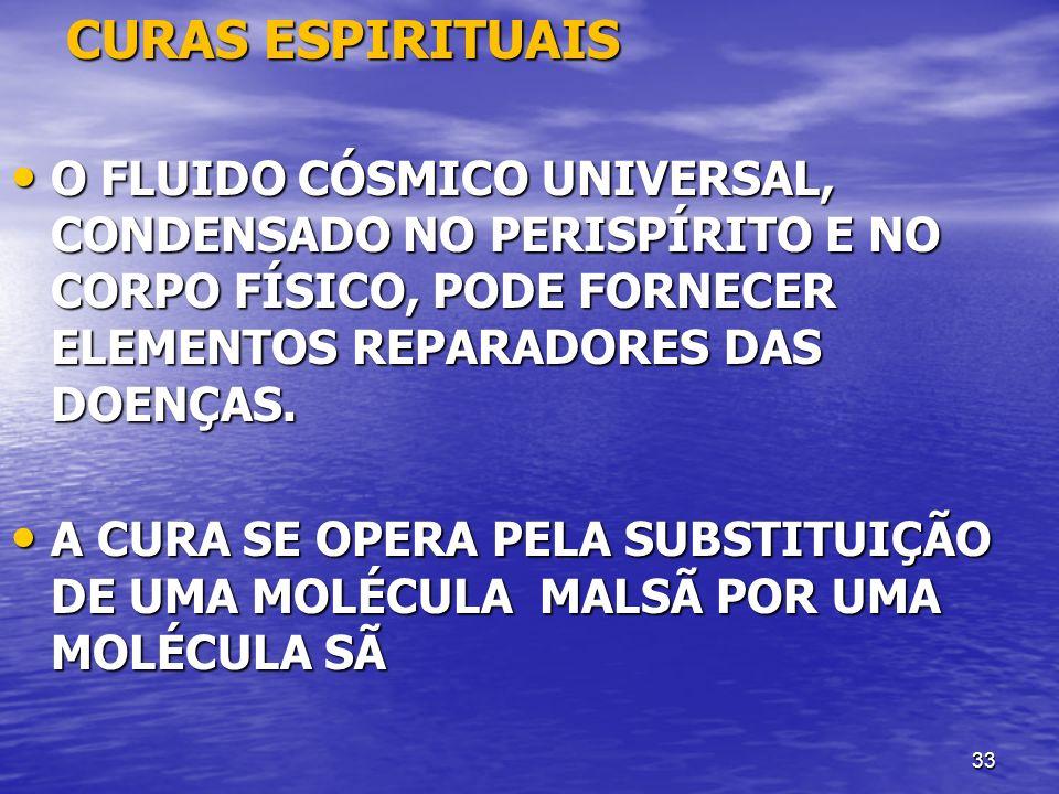 CURAS ESPIRITUAIS O FLUIDO CÓSMICO UNIVERSAL, CONDENSADO NO PERISPÍRITO E NO CORPO FÍSICO, PODE FORNECER ELEMENTOS REPARADORES DAS DOENÇAS.