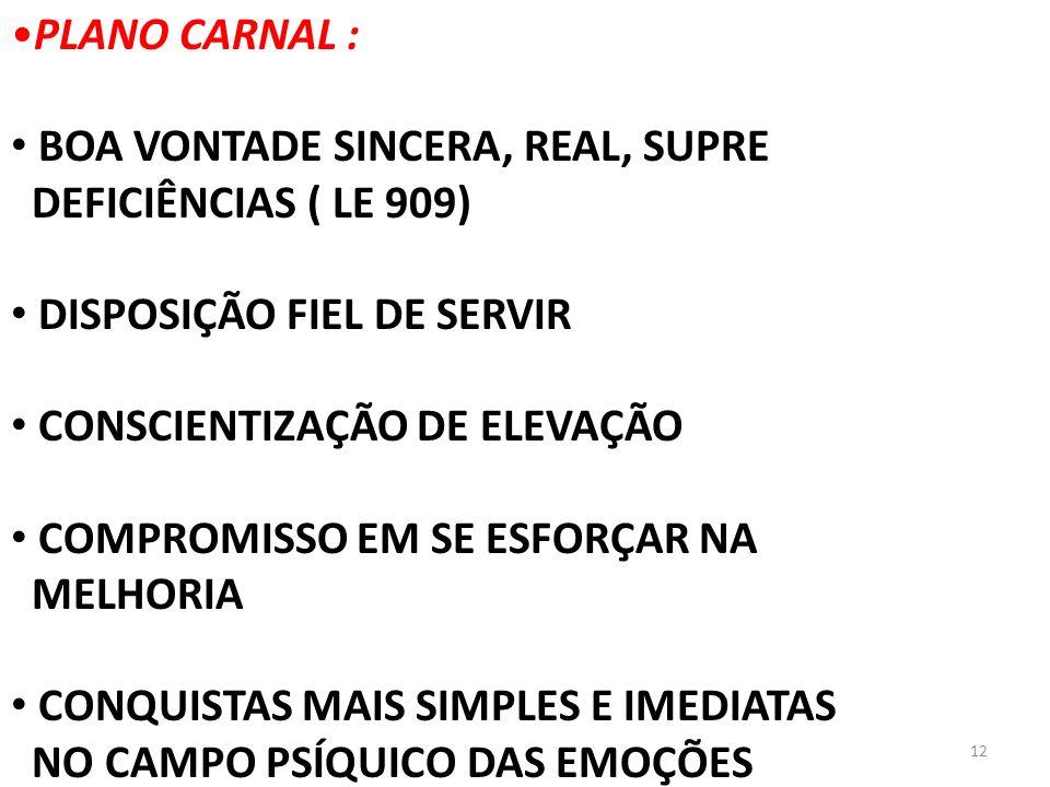 PLANO CARNAL : BOA VONTADE SINCERA, REAL, SUPRE. DEFICIÊNCIAS ( LE 909) DISPOSIÇÃO FIEL DE SERVIR.