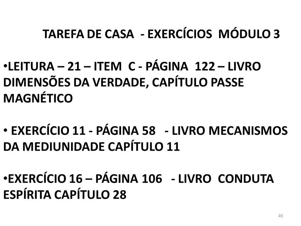 TAREFA DE CASA - EXERCÍCIOS MÓDULO 3