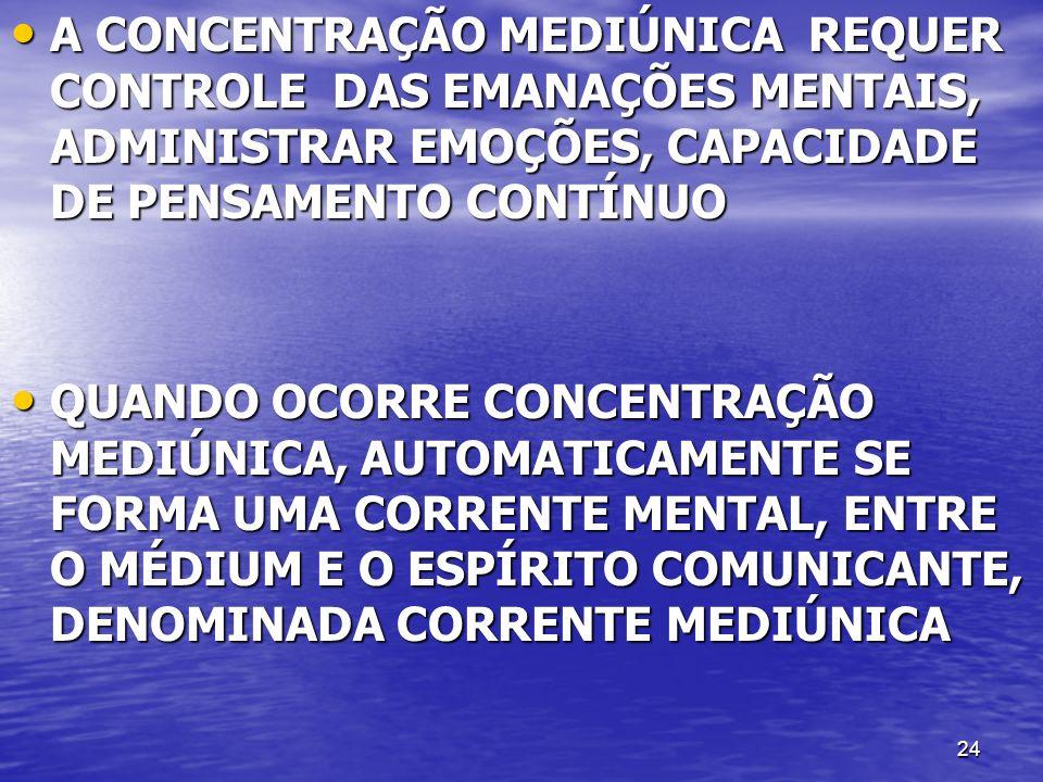 A CONCENTRAÇÃO MEDIÚNICA REQUER CONTROLE DAS EMANAÇÕES MENTAIS, ADMINISTRAR EMOÇÕES, CAPACIDADE DE PENSAMENTO CONTÍNUO