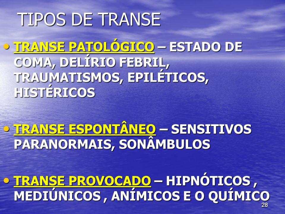 TIPOS DE TRANSE TRANSE PATOLÓGICO – ESTADO DE COMA, DELÍRIO FEBRIL, TRAUMATISMOS, EPILÉTICOS, HISTÉRICOS.