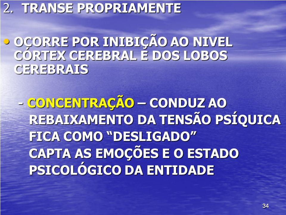 2. TRANSE PROPRIAMENTE OCORRE POR INIBIÇÃO AO NIVEL CÓRTEX CEREBRAL E DOS LOBOS CEREBRAIS. - CONCENTRAÇÃO – CONDUZ AO.