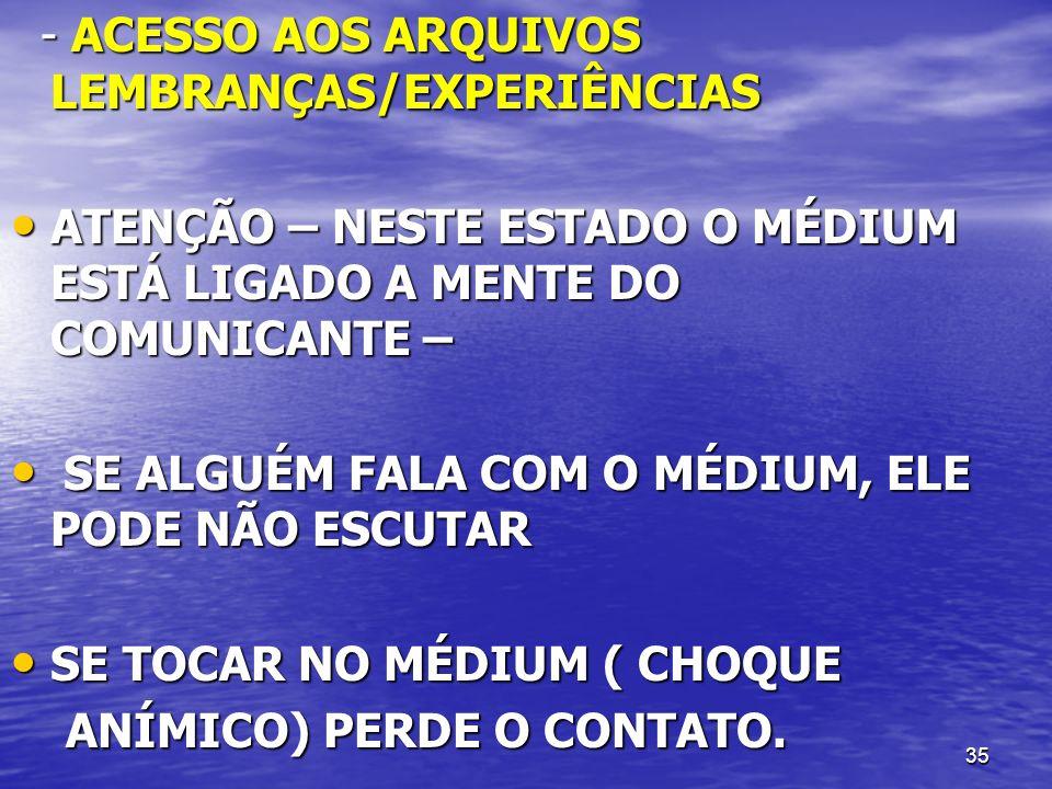 - ACESSO AOS ARQUIVOS LEMBRANÇAS/EXPERIÊNCIAS