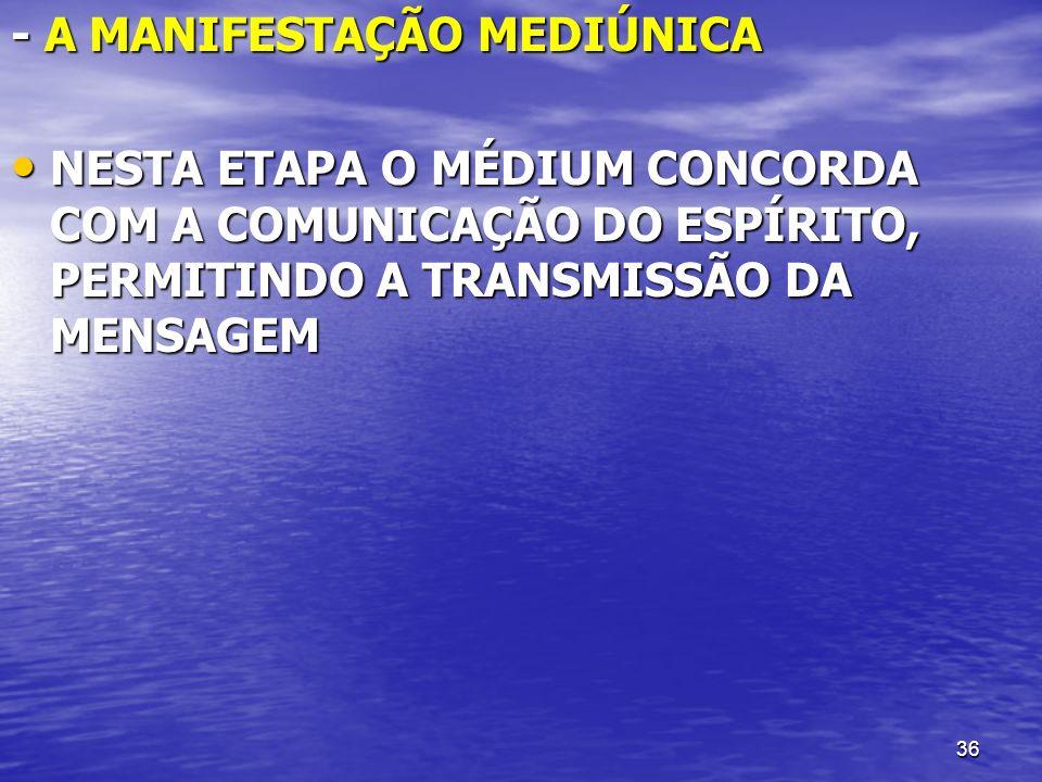 - A MANIFESTAÇÃO MEDIÚNICA