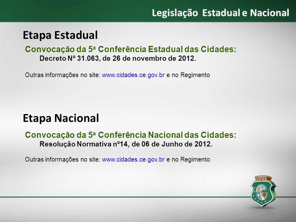 Etapa Estadual Etapa Nacional Legislação Estadual e Nacional