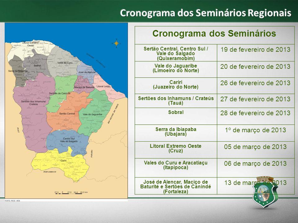 Cronograma dos Seminários Regionais