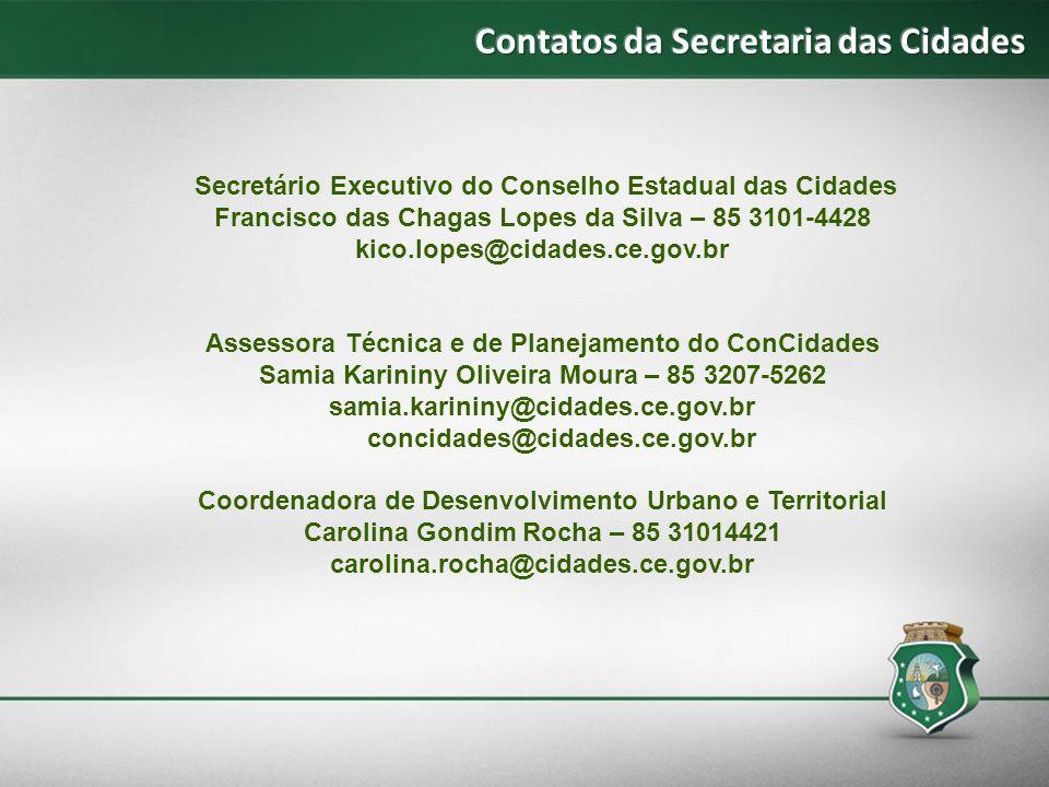 Contatos da Secretaria das Cidades