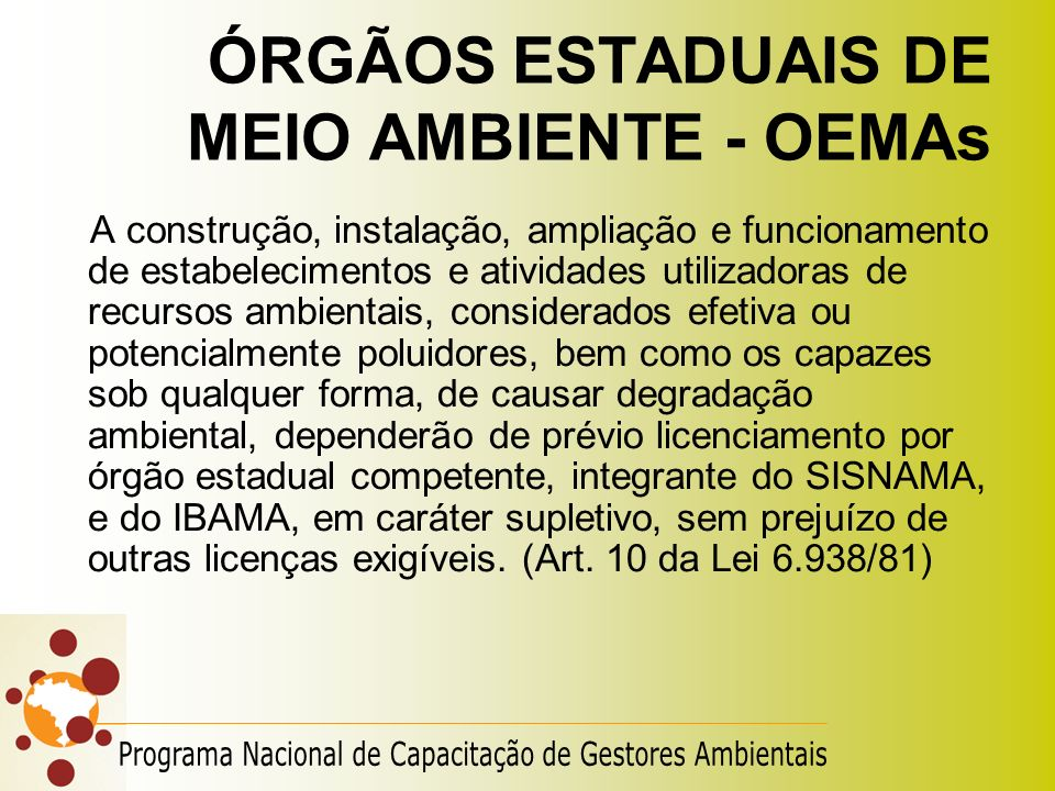 ÓRGÃOS ESTADUAIS DE MEIO AMBIENTE - OEMAs