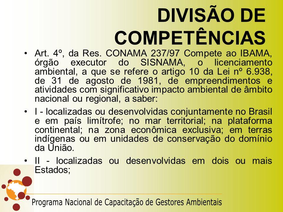 DIVISÃO DE COMPETÊNCIAS