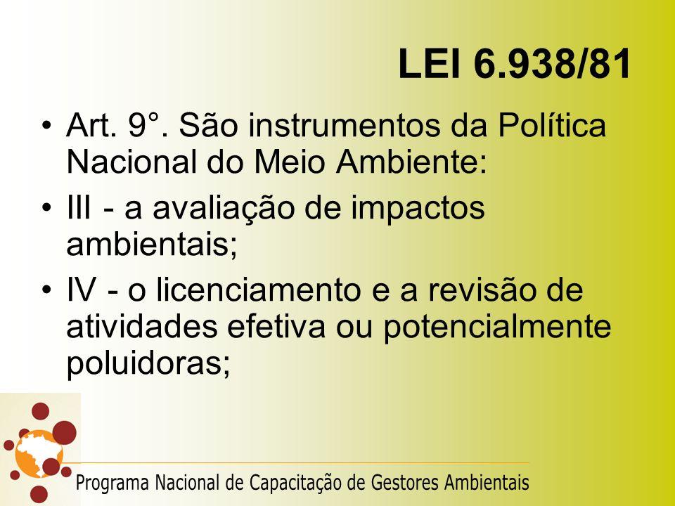 LEI 6.938/81 Art. 9°. São instrumentos da Política Nacional do Meio Ambiente: III - a avaliação de impactos ambientais;