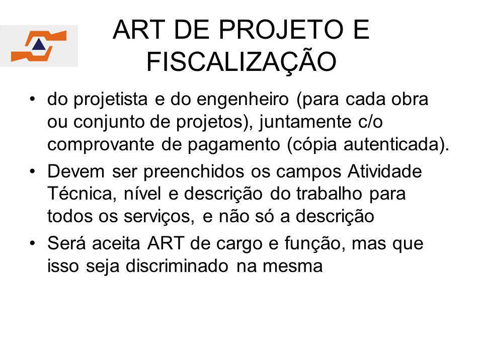 ART DE PROJETO E FISCALIZAÇÃO