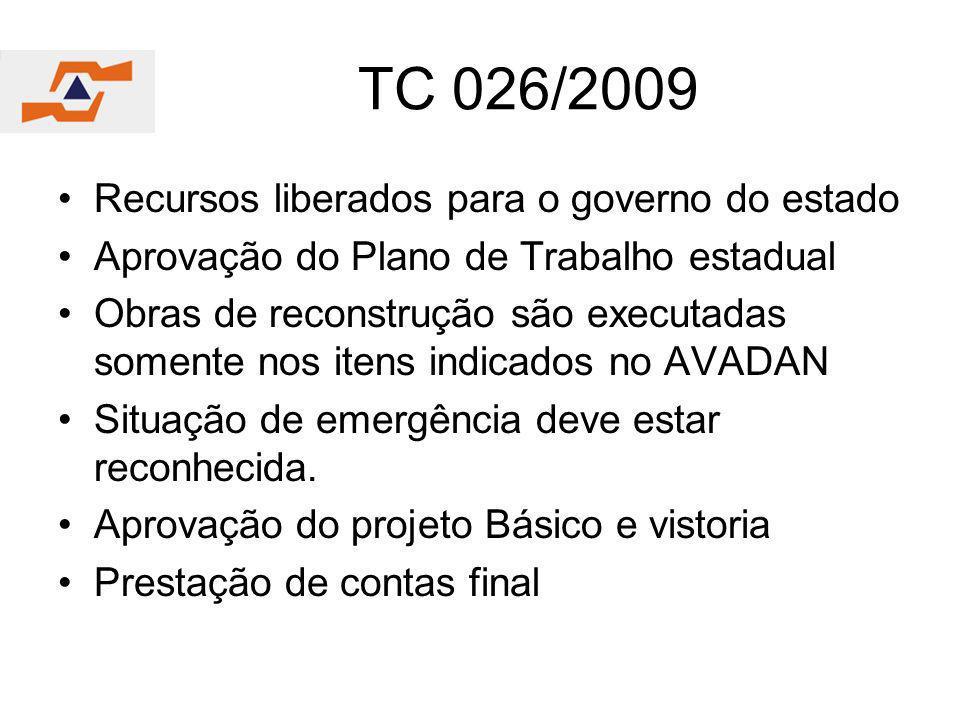 TC 026/2009 Recursos liberados para o governo do estado