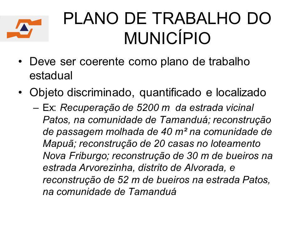 PLANO DE TRABALHO DO MUNICÍPIO