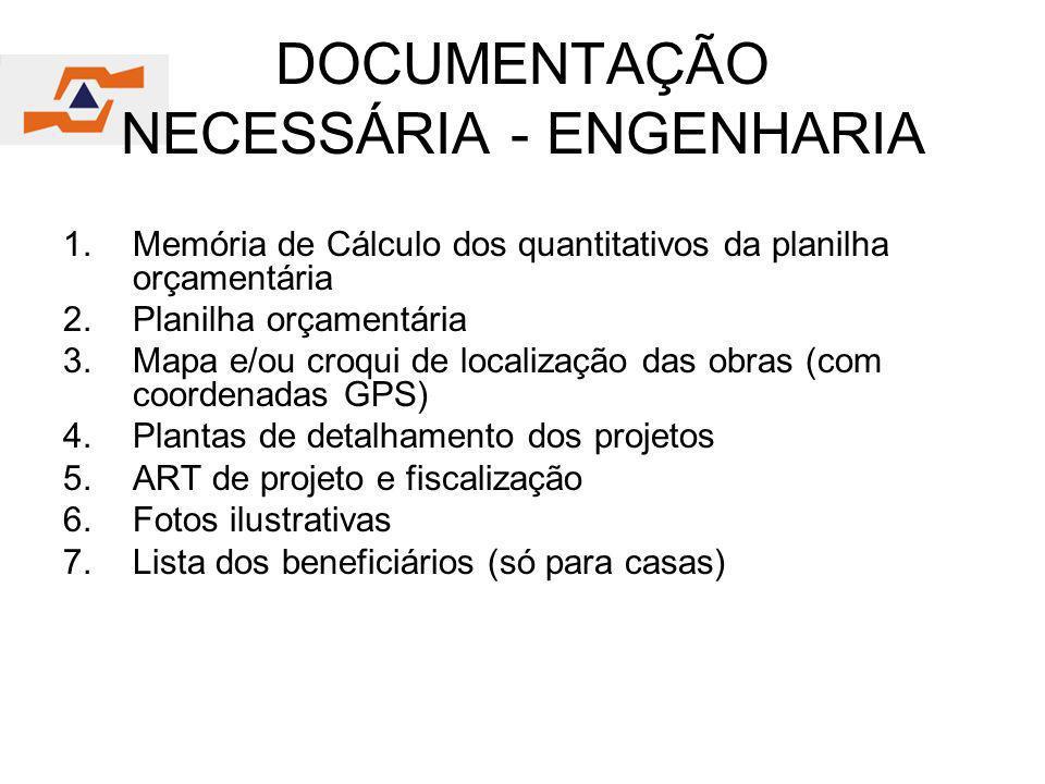 DOCUMENTAÇÃO NECESSÁRIA - ENGENHARIA