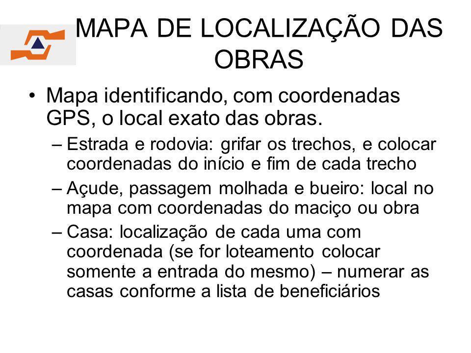 MAPA DE LOCALIZAÇÃO DAS OBRAS
