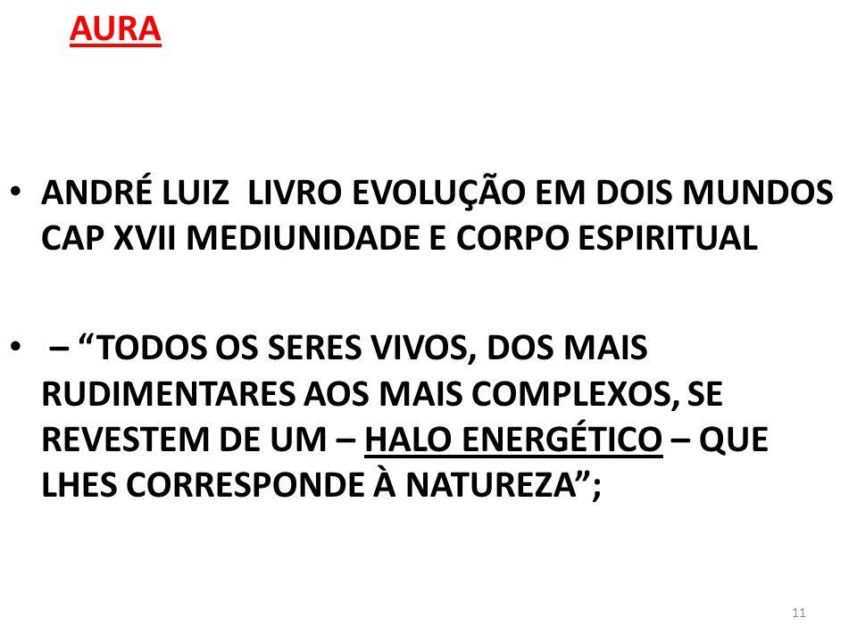 AURA ANDRÉ LUIZ LIVRO EVOLUÇÃO EM DOIS MUNDOS CAP XVII MEDIUNIDADE E CORPO ESPIRITUAL.