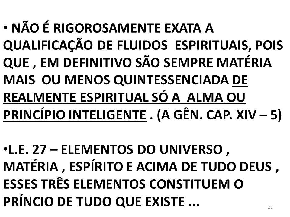 NÃO É RIGOROSAMENTE EXATA A QUALIFICAÇÃO DE FLUIDOS ESPIRITUAIS, POIS QUE , EM DEFINITIVO SÃO SEMPRE MATÉRIA MAIS OU MENOS QUINTESSENCIADA DE REALMENTE ESPIRITUAL SÓ A ALMA OU PRINCÍPIO INTELIGENTE . (A GÊN. CAP. XIV – 5)