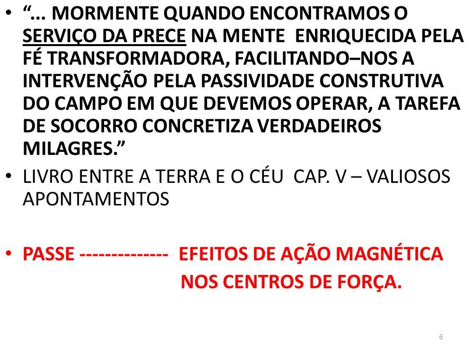 ... MORMENTE QUANDO ENCONTRAMOS O SERVIÇO DA PRECE NA MENTE ENRIQUECIDA PELA FÉ TRANSFORMADORA, FACILITANDO–NOS A INTERVENÇÃO PELA PASSIVIDADE CONSTRUTIVA DO CAMPO EM QUE DEVEMOS OPERAR, A TAREFA DE SOCORRO CONCRETIZA VERDADEIROS MILAGRES.